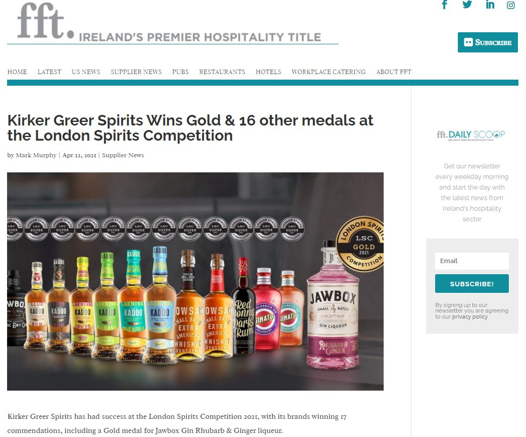 Kirker Greer Spirits Wins Gold & 16 other medals at the London Spirits Competition