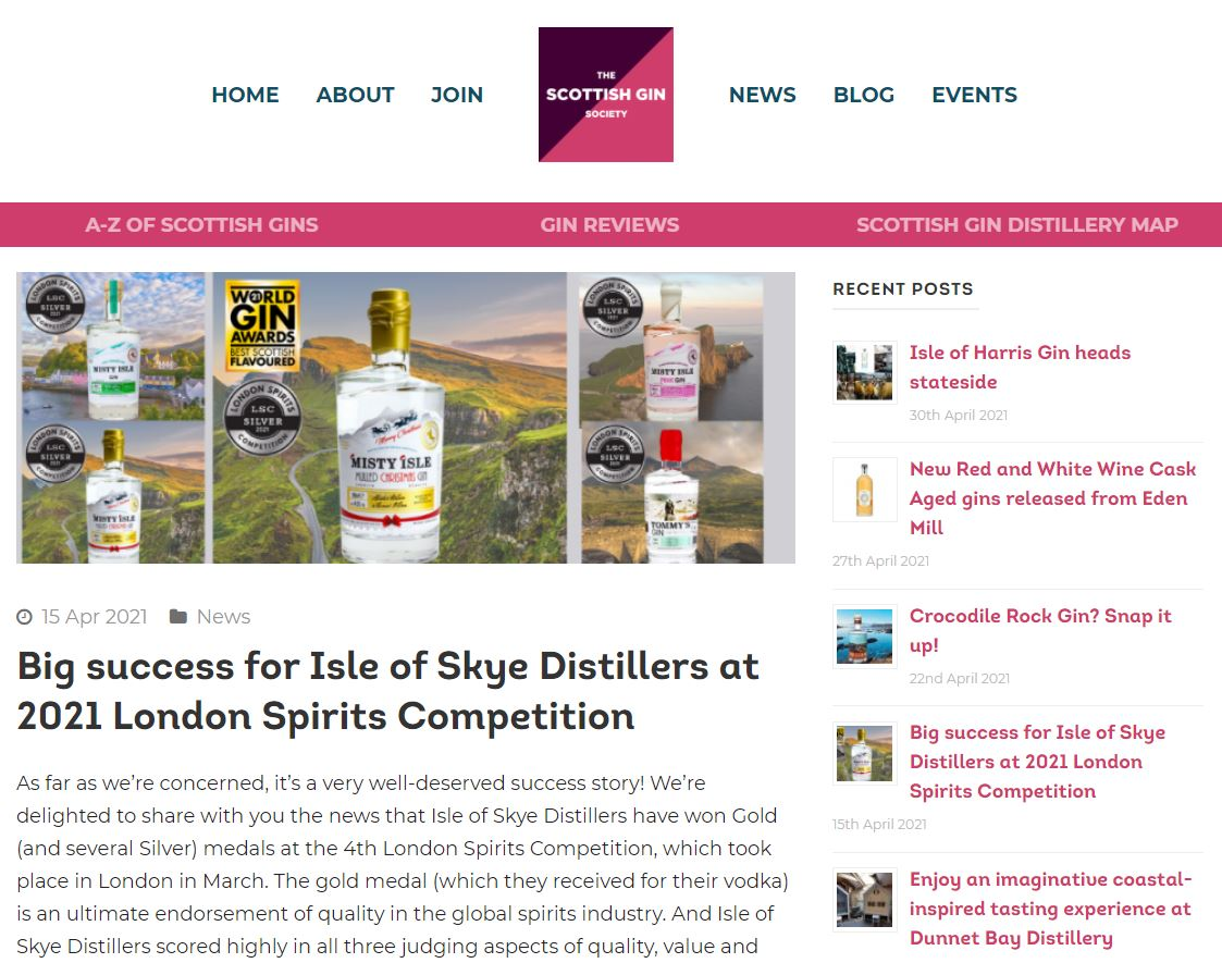 Big success for Isle of Skye Distillers at 2021 London Spirits Competition