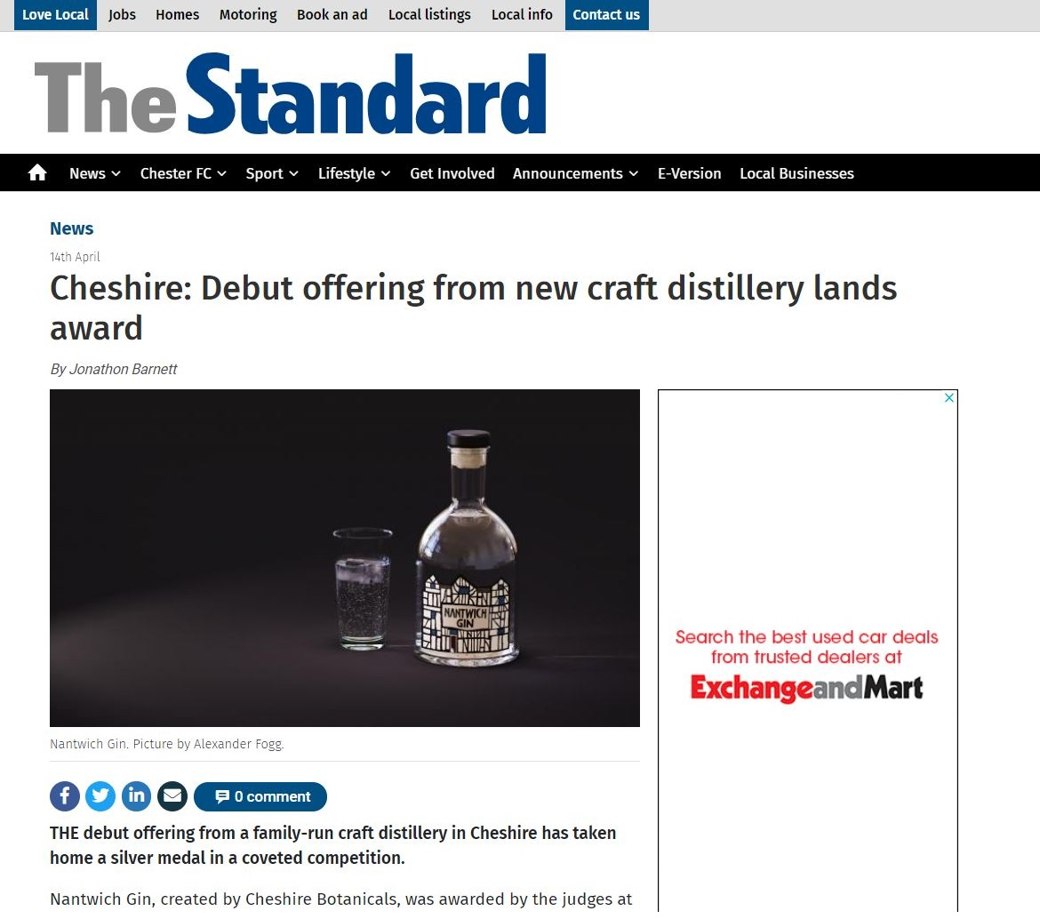Cheshire: Debut Offering From New Craft Distillery Lands Award