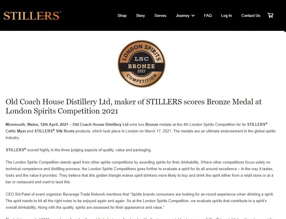 Old Coach House Distillery Ltd, maker of STILLERS scores Bronze Medal at London Spirits Competition 2021