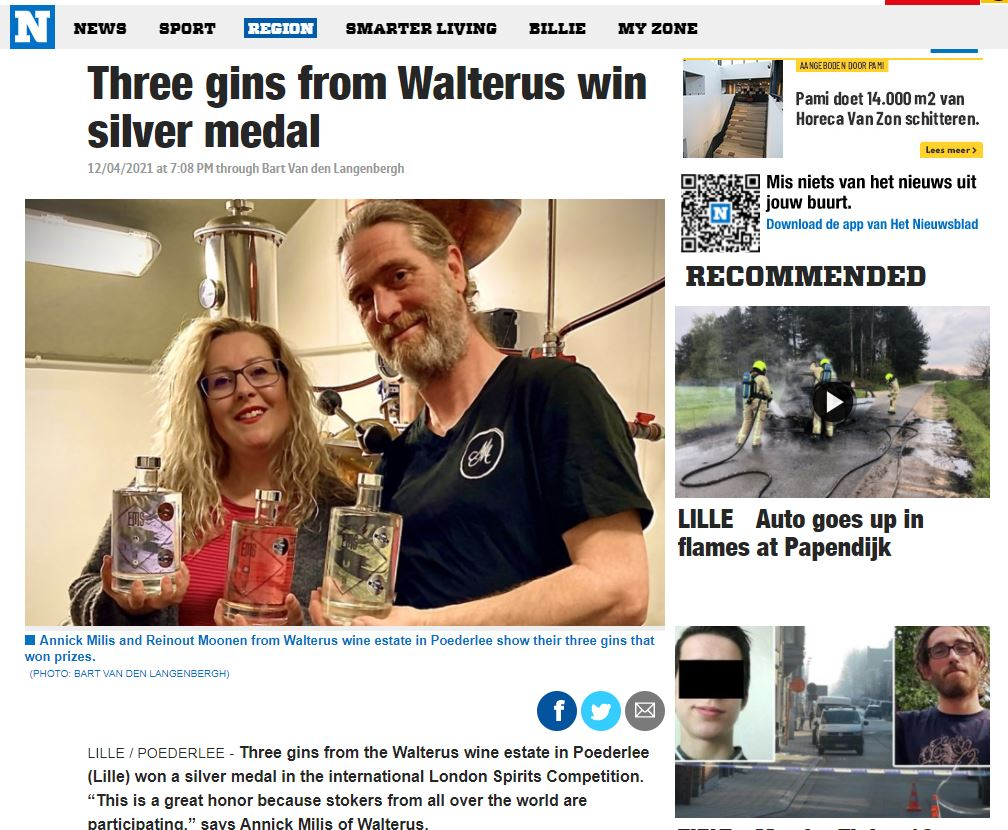 Three gins from Walterus win silver medal