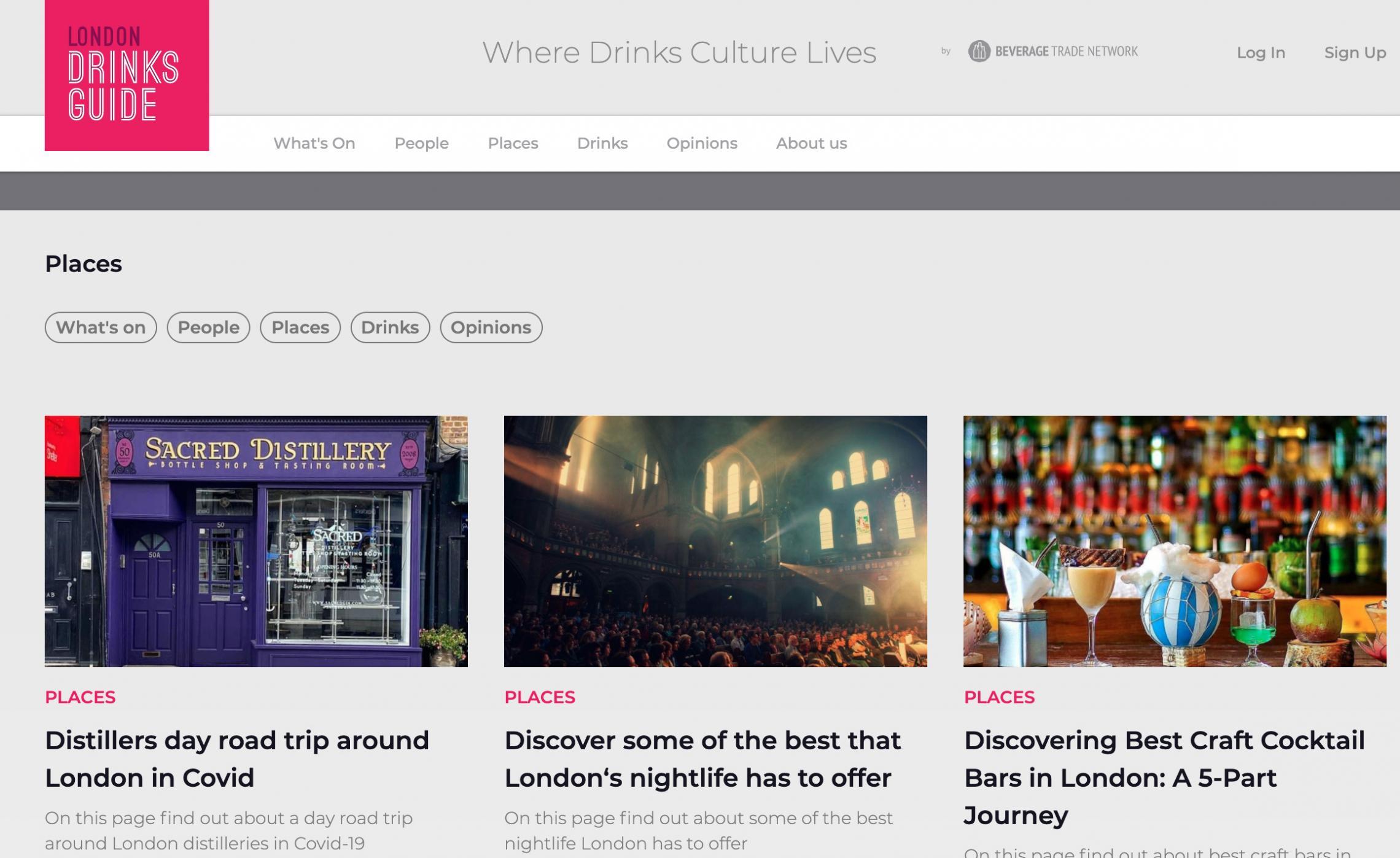 London Drinks Guide Website